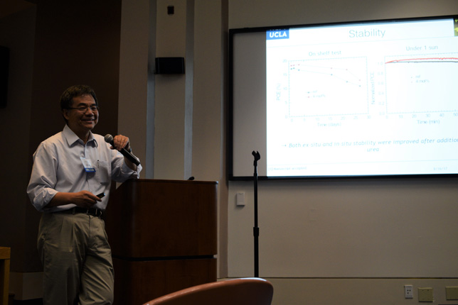 UCLA Professor Yang Yang gets the afternoon started off right with a discussion of perovskite solar cell research.