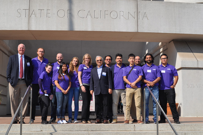The UC Solar Research Team from UC Merced shows off this year's purple shirts.